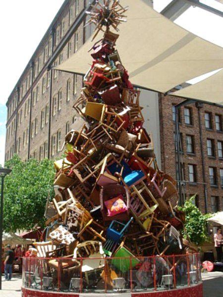Old Chairs Get Festive In Sydney Australia Noel Decoration Noel Sapin De Noel