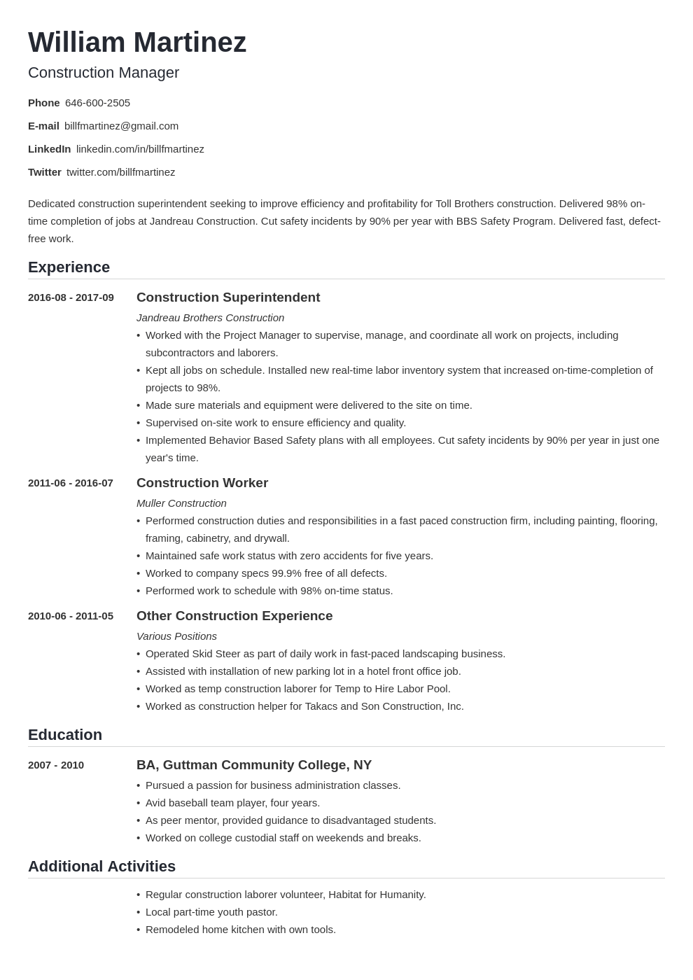 Construction Resume Example Template Nanica Resume Examples Resume Skills Job Resume Examples