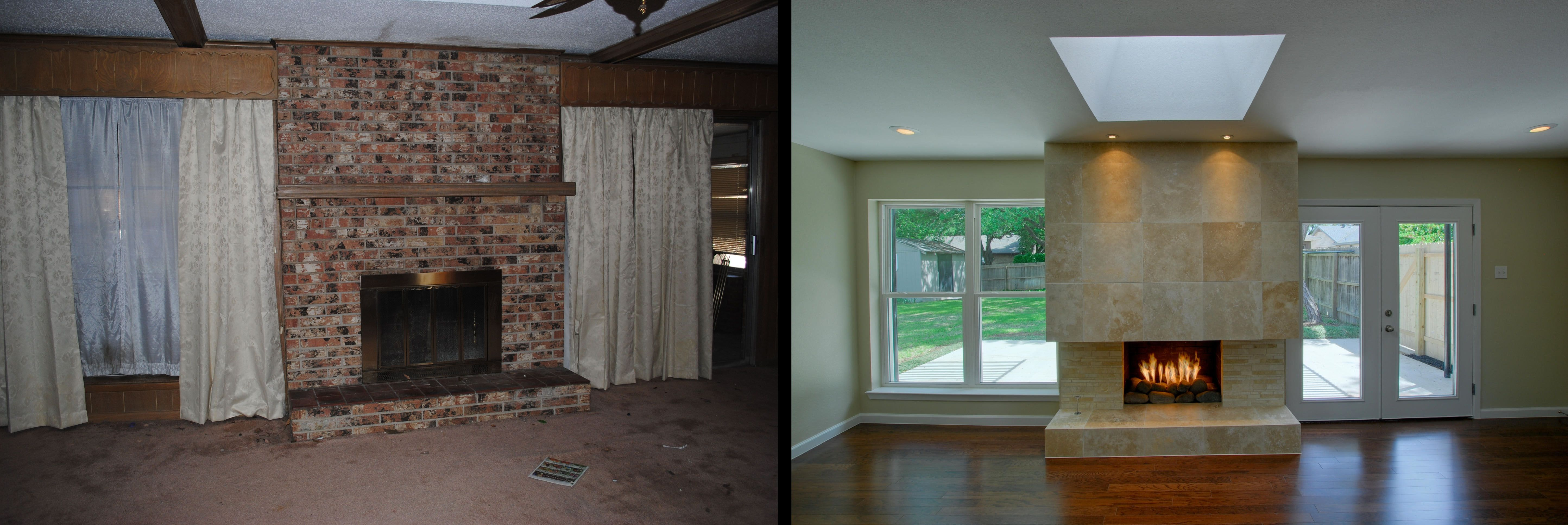 This brick fireplace is very typical of ranch style houses