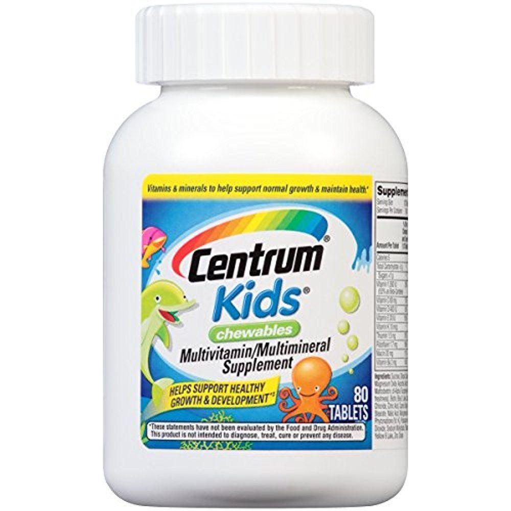 Details About Centrum Multivitamins For Kids Chewables Supplement Vitamin A C E 80 Tablets