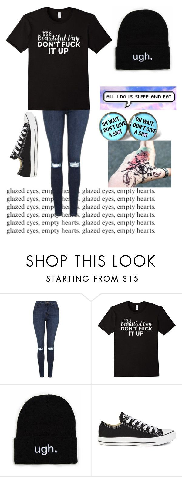 """""""Untitled #612"""" by bands-music ❤ liked on Polyvore featuring Topshop and Converse"""