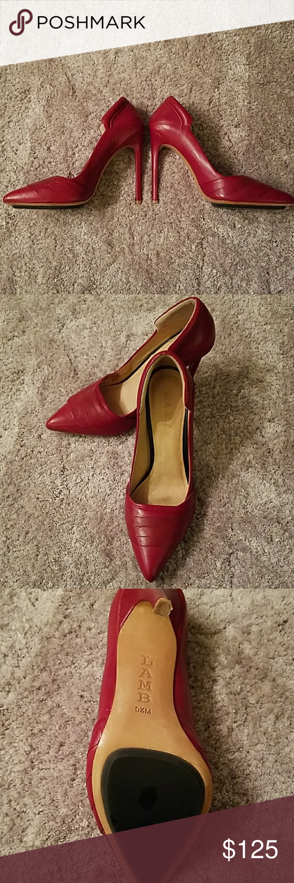 Hot red designer pumps In a word... sizzle!  Take your style to new heights with  the shoes I ROCKED in Vegas! 4 1/2 inches of sheer perfection.  My podiatrist friend says that I can't.  My loss, your gain! L.A.M.B. Shoes Heels