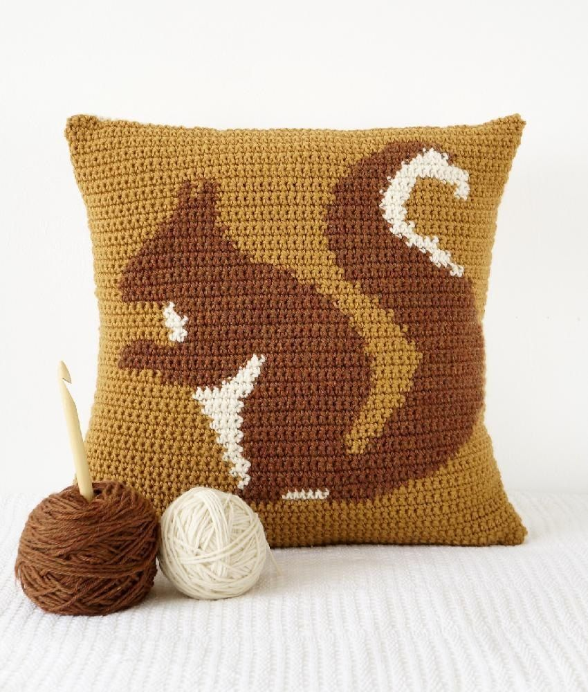 Squirrel Crochet Cushion - to make your own fun crochet cushion head over to LoveCrochet and shop the pattern!
