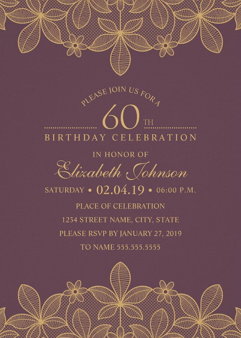 Golden Lace 60th Birthday Invitations - Elegant Luxury Cards ...