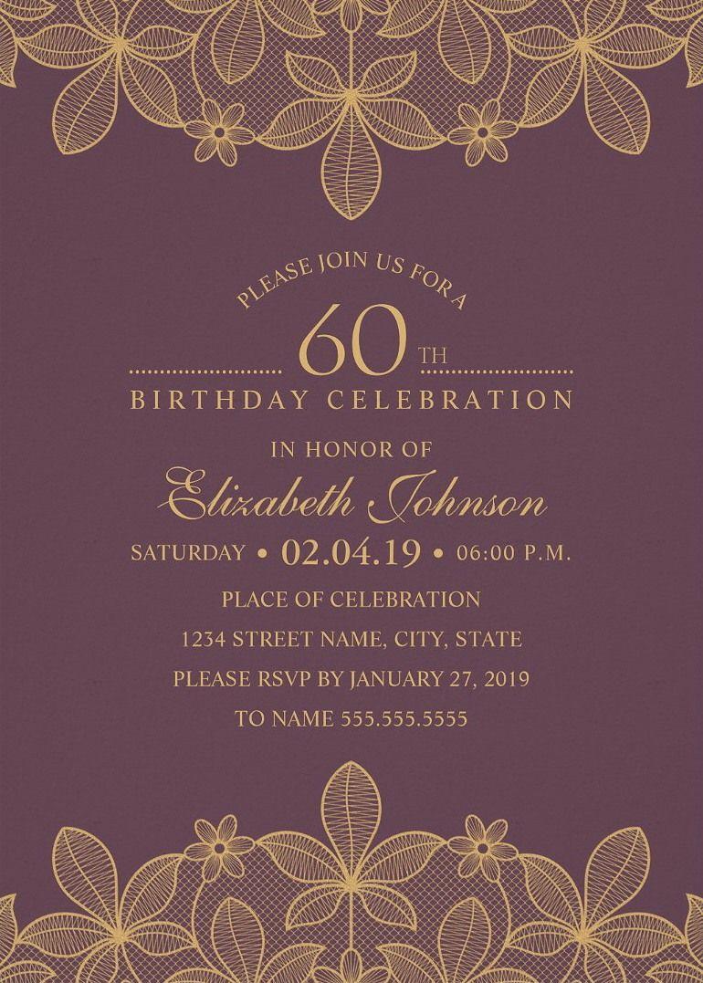 golden lace 60th birthday invitations