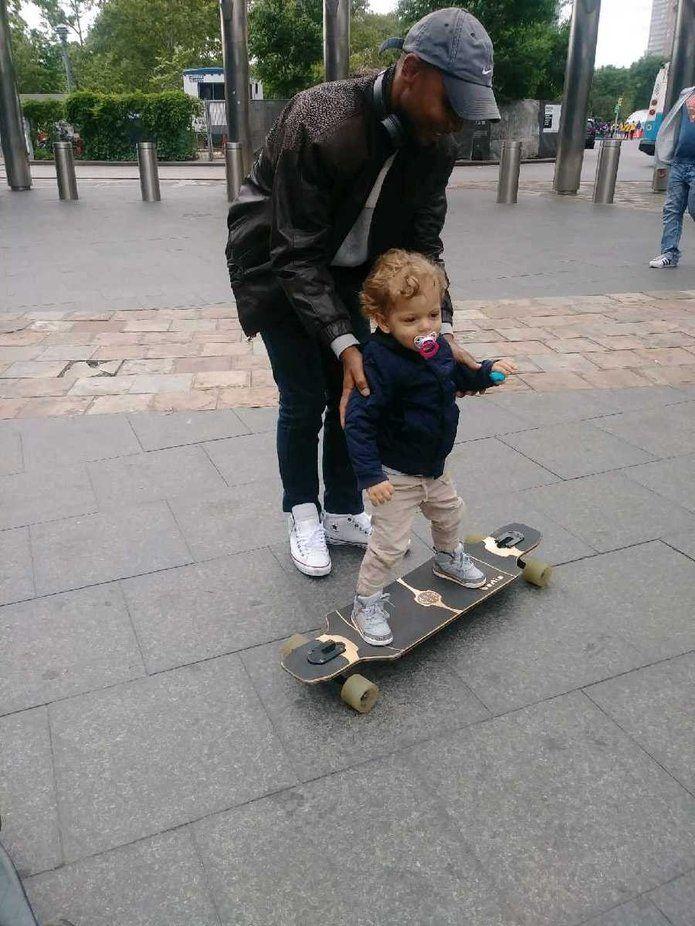 Skateboarding at 2 Baby strollers, Skateboard, Stroller