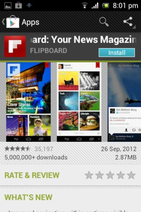 Get updated with any media or magazines in flipboard style