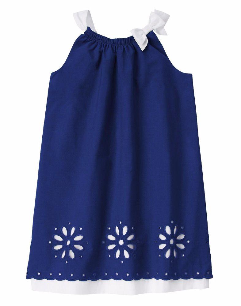 c007b9e5be2f GYMBOREE Girls Blue Safari Navy Sleeveless Trapeze Eyelet A-line ...