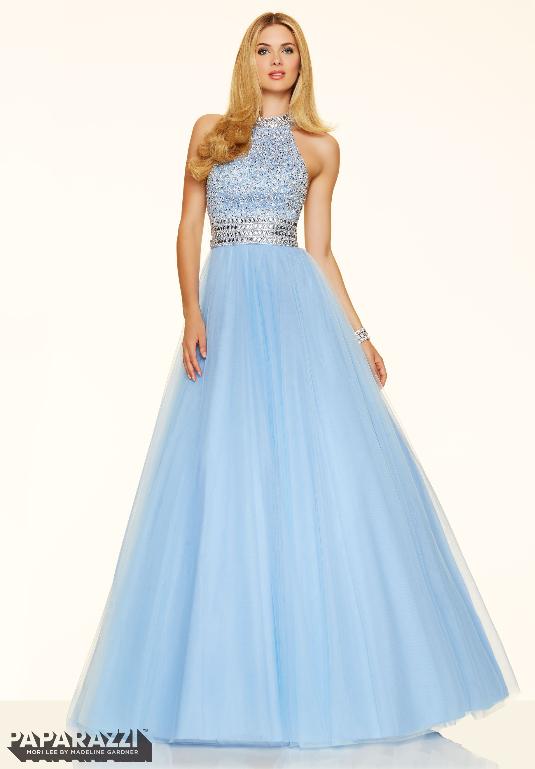 Beaded soft tulle ball gown prom dress available at hopeus bridal