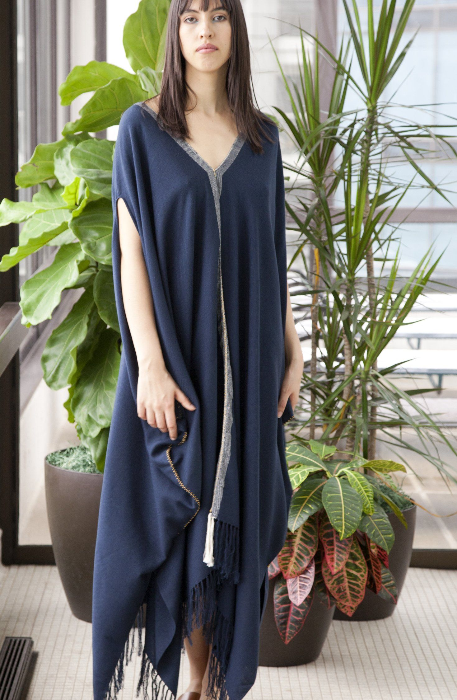 Photo of Vela Navy Blue Pima Cotton Maxi Tunic Dress