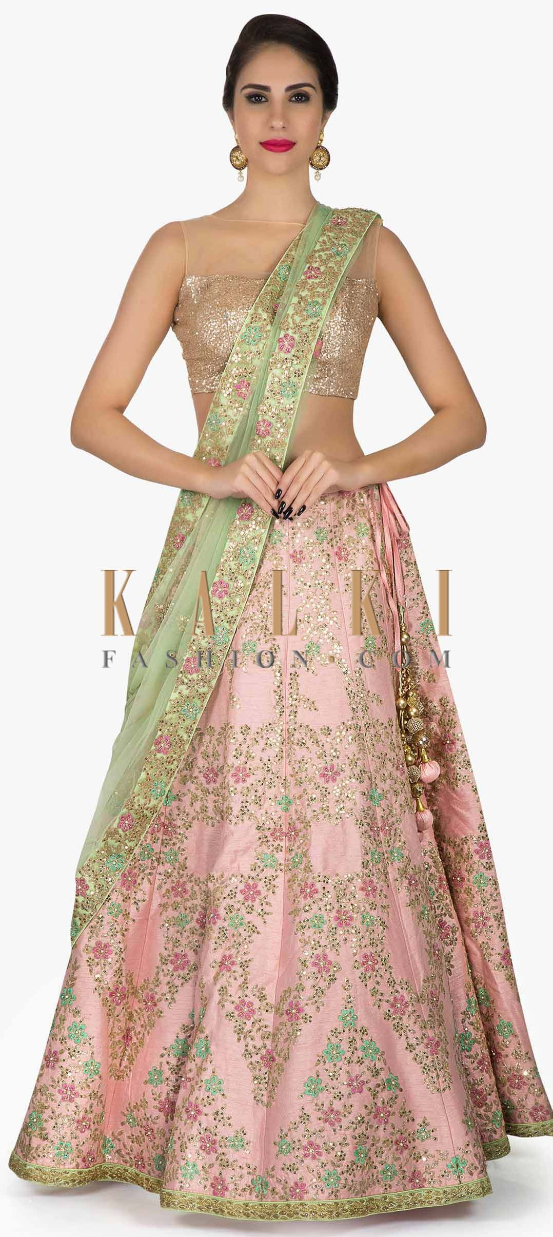 87d97a43e5 Baby Pink Lehenga in Silk with pista green dupatta Showcasing The Resham  Zardosi Work only on Kalki