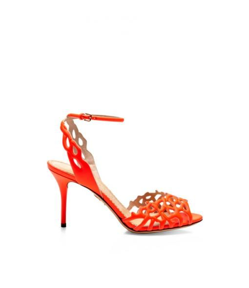 Coral Cutout Leather Sandals