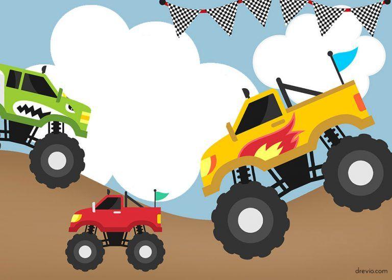 Monster Trucks Invitation Templates Free Printable Fiesta De Monster Truck Cumpleanos De Monster Truck Invitaciones De Monster