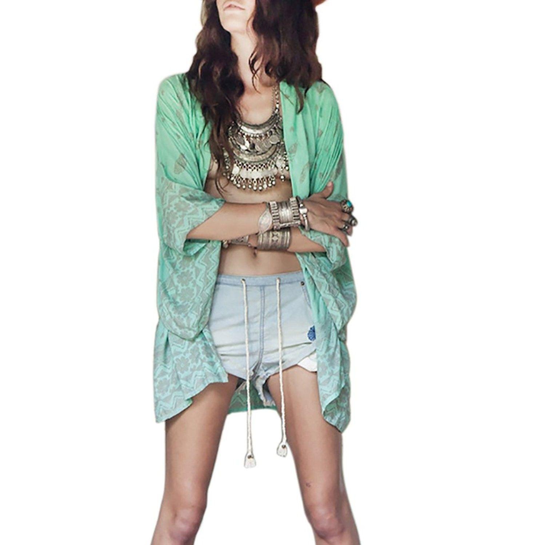 4ab3f17fd641d JBY Women's Loose Beachwear Cover-ups Tunic Chiffon Cardigan - Green -  CH12E63O88N,Women's Clothing, Swimsuits & Cover Ups, Cover-Ups #women  #fashion #style ...