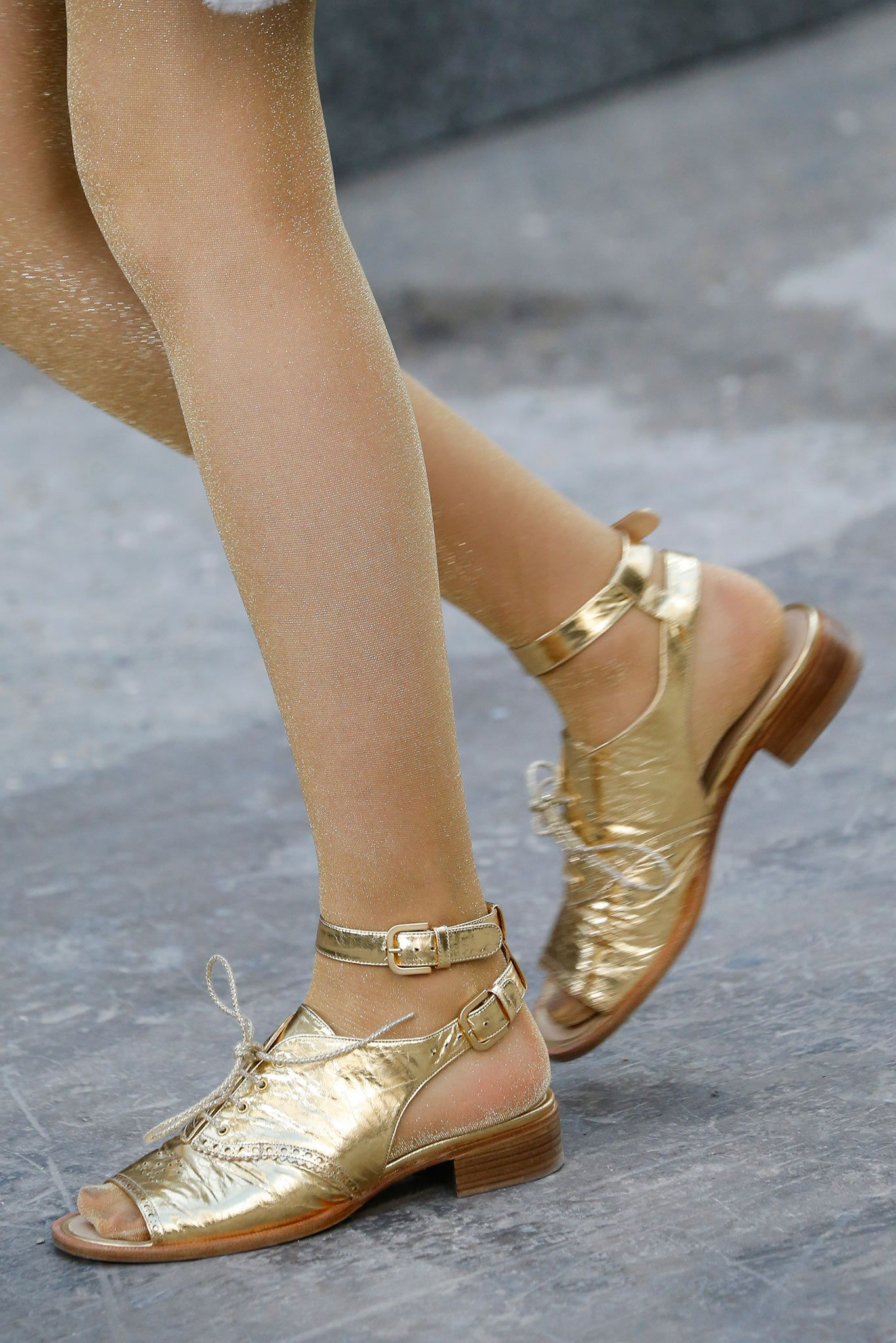 3e683f8b33ca Gold shoes at Chanel. Chanel Spring 2015 Ready-to-Wear - Collection -  Gallery - Style.com