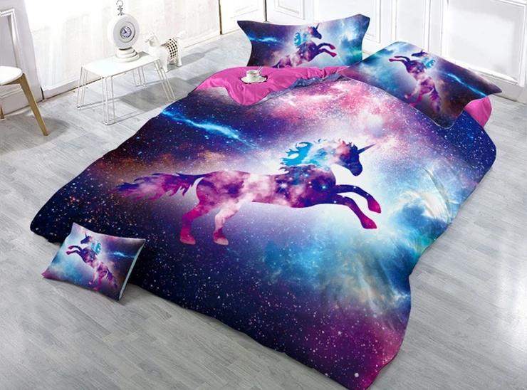Photo of Jumping Unicorn Pattern Animal Printed Soft Lightweight 3D Duvet Cover Set 4-Piece Bedding Set