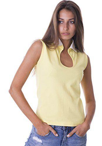 Camixa Women39s Polo Shirt Low Cut Sleeveless Pique Cotton