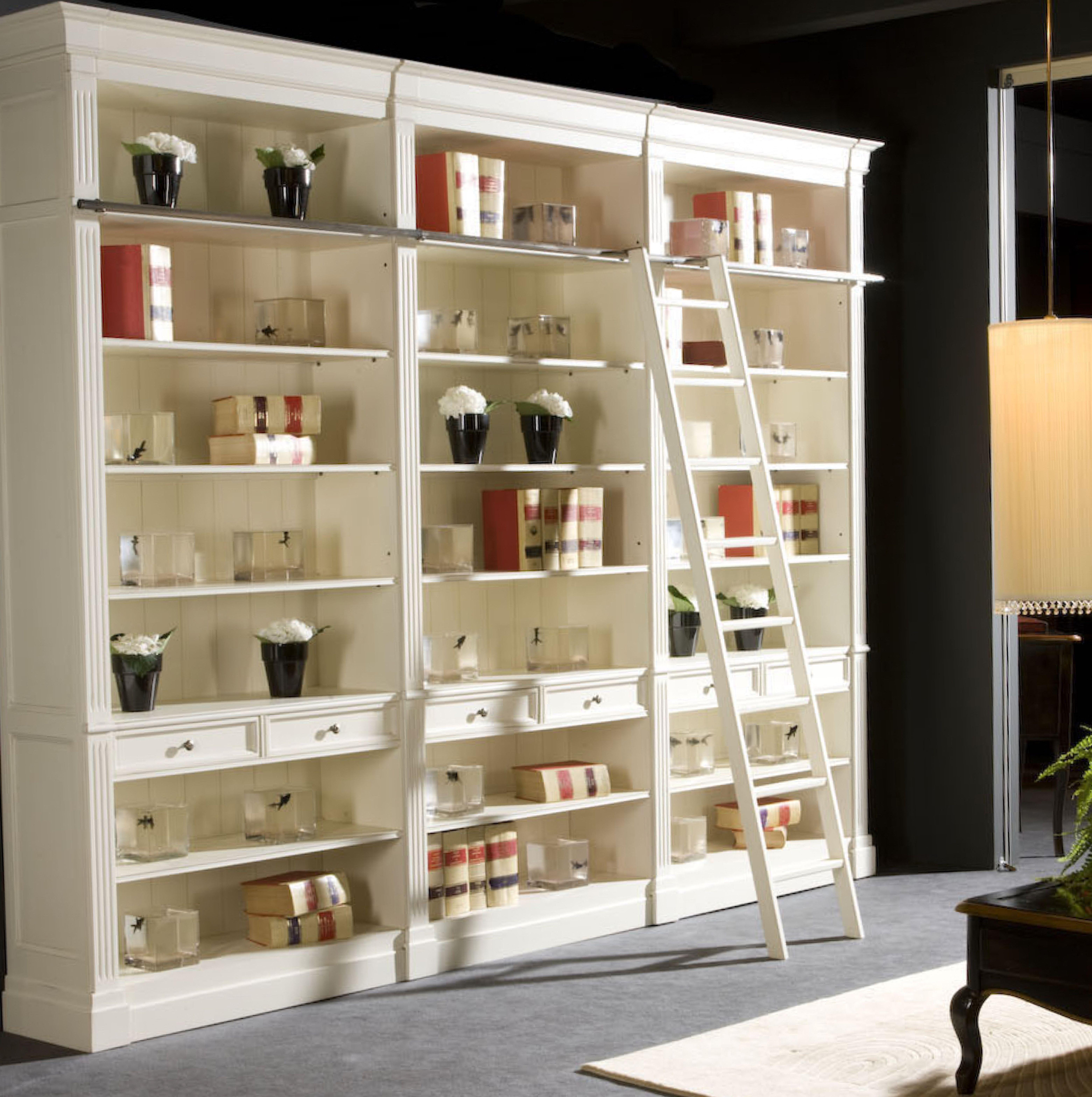 Libreria 45 estilo luis xvi composici n de estantes cajones estantes y altillo con escalera - Estante con cajon ...