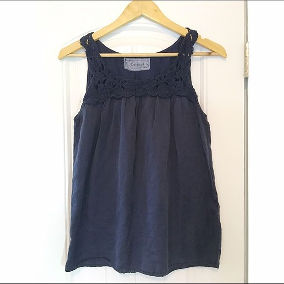 Navy Blue Blouse Short Sleeve navy blue blouse with a crew neck line. Size small Boutique Tops Blouses