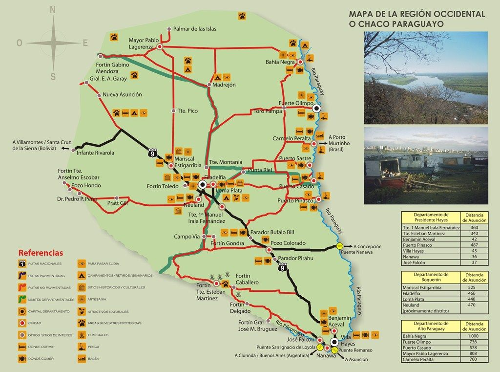 Map of Chaco showing roads cities to