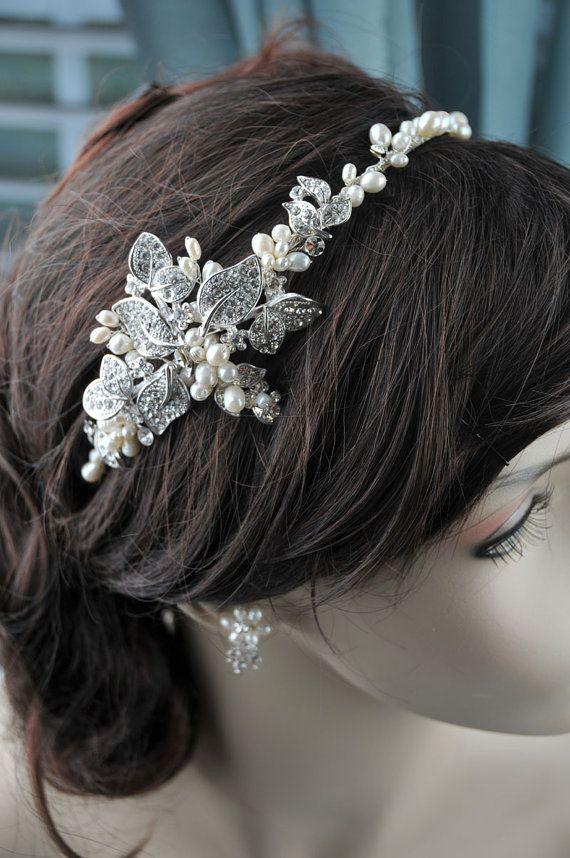 Vintage Inspired Bridal Headband Freshwater Pearl by jasfavor