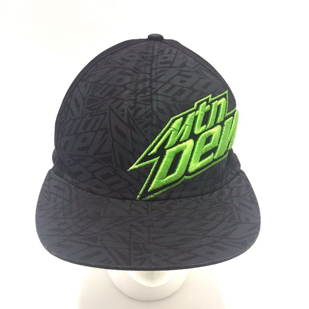5b6e6f8b08243 Mtn Dew Hat Green Embroidered Logo Black Shadowing Fitted L XL ...