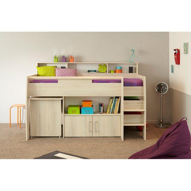 Parisot Kurt Midsleeper Loft Bed With Mattress Light Gray Oak 2099comb Cabin Bed With Desk Mid Sleeper Bed