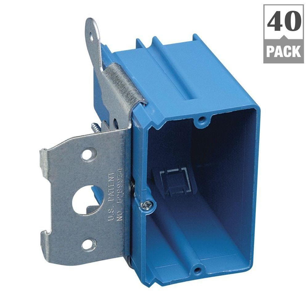 Carlon 1 Gang 21 Cu In New Work Non Metallic Electrical Wall Box With Adjustable Bracket Case Of 40 B121adj 40r Wall Boxes Pvc Wall National Electric