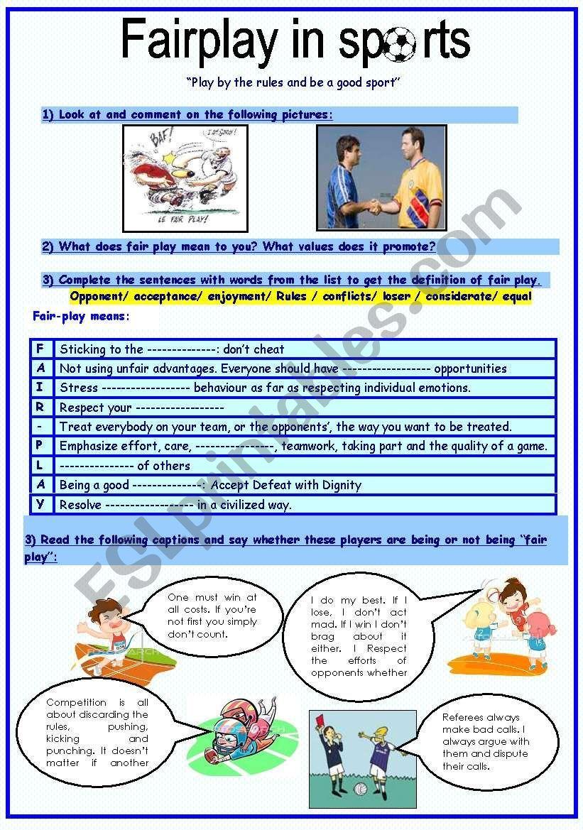 fairplay in sports ESL worksheet by sassouki in 2020