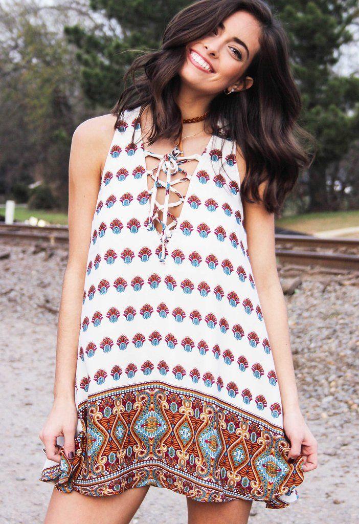 726274655a Show Me Your Mumu Rancho Mirage Lace Up Mini Dress  Victorian