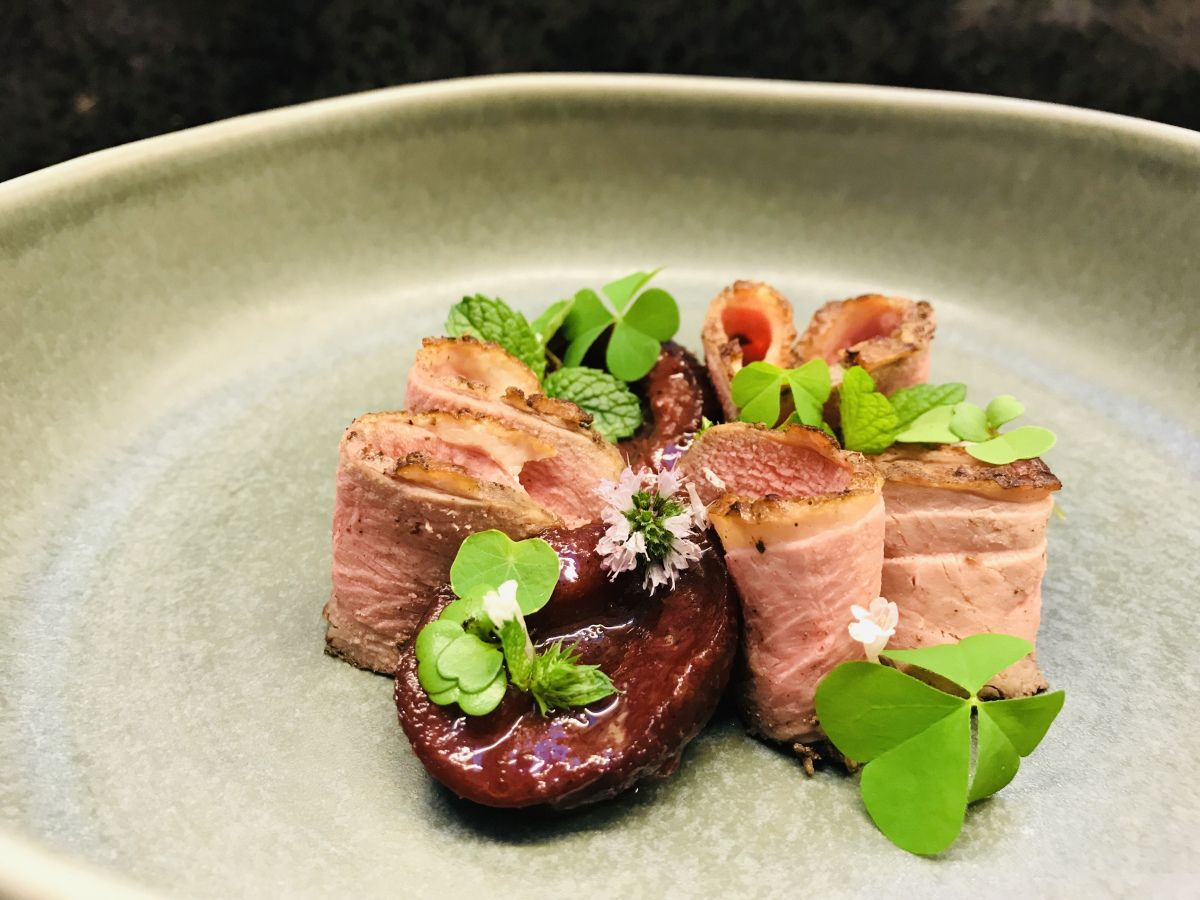 Tea Smoked Duck With Tamarind Plums