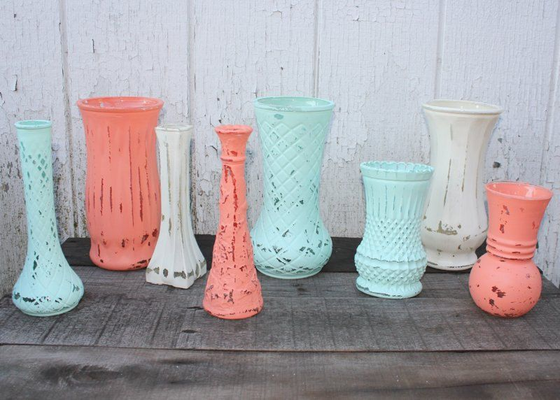 Set Of 8 Painted Glass Vases Coral Aqua And Antique White Distressed Vases Wedding Decor Or Home Decor