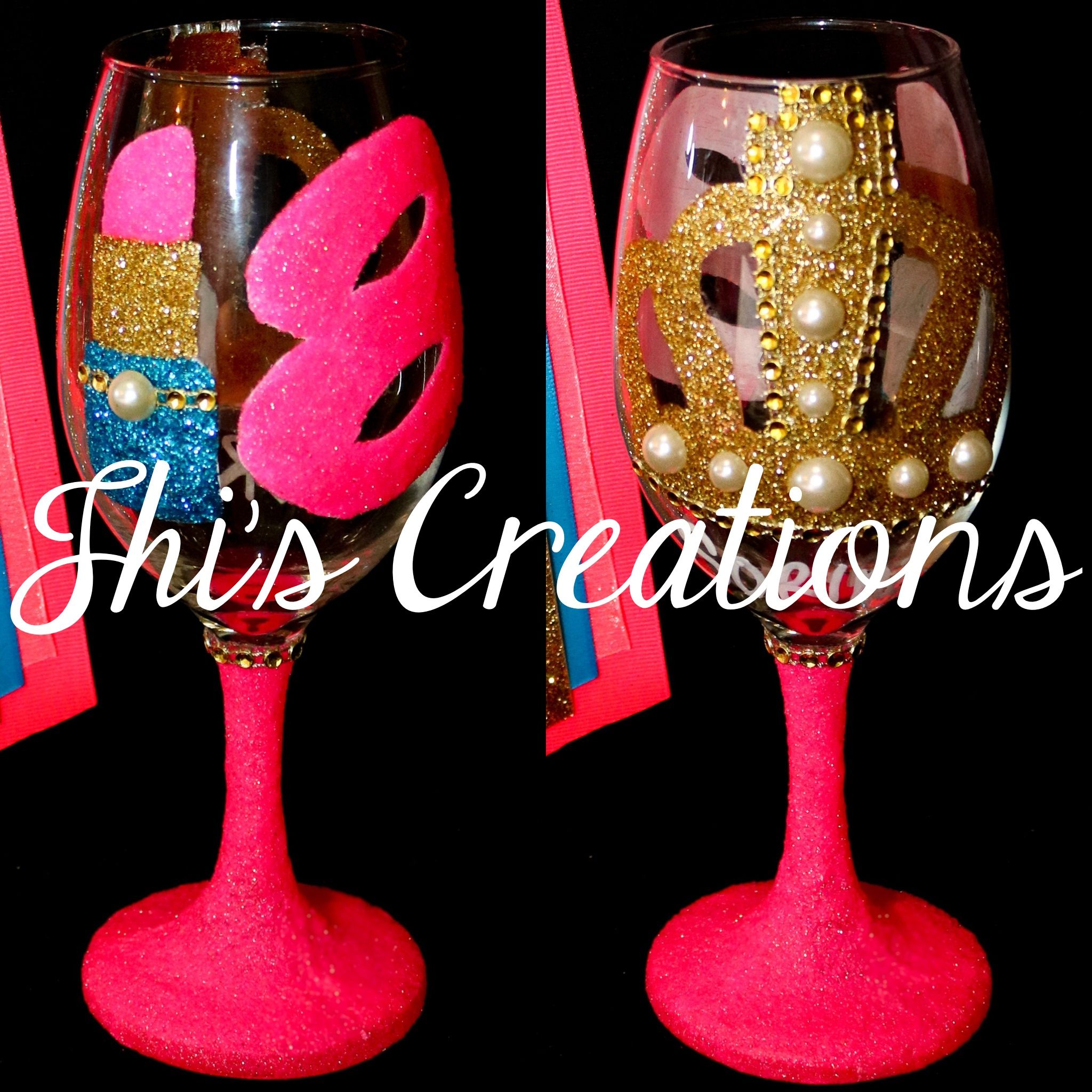 Welcome To Jhi S Creations Party Decorations Nola Home Birthday Wine Glass 18th Birthday Wine Glass