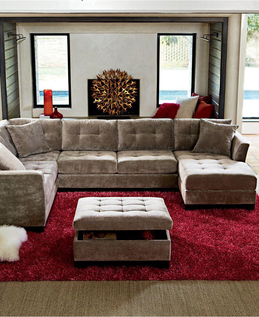 Macys Com Furniture: Elliot Fabric Microfiber 3-Piece Chaise Sectional Sofa
