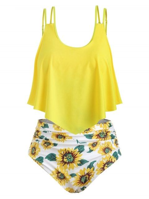 debf35ad0a95b [CUSTOM] 2019 Sunflower Contrast Overlay Plus Size Tankini Set In YELLOW M  | DressLily