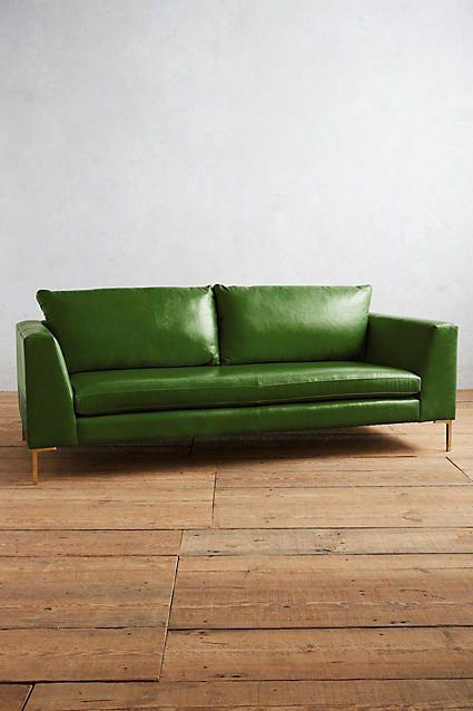 Anthropologie Premium Leather Edlyn Sofa Green Aesthetic Green