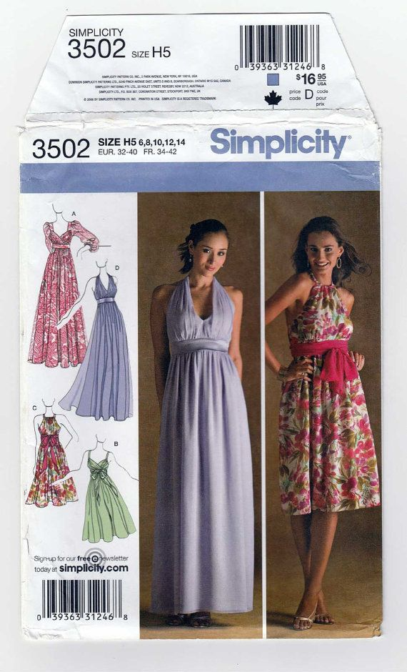 Simplicity 3502 Women\'s Special Occasion Dress or Evening Gown ...