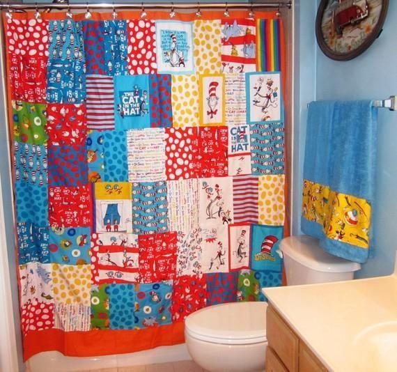 Adorable Dr Seuss Shower Curtain Curtains Funky Bathroom