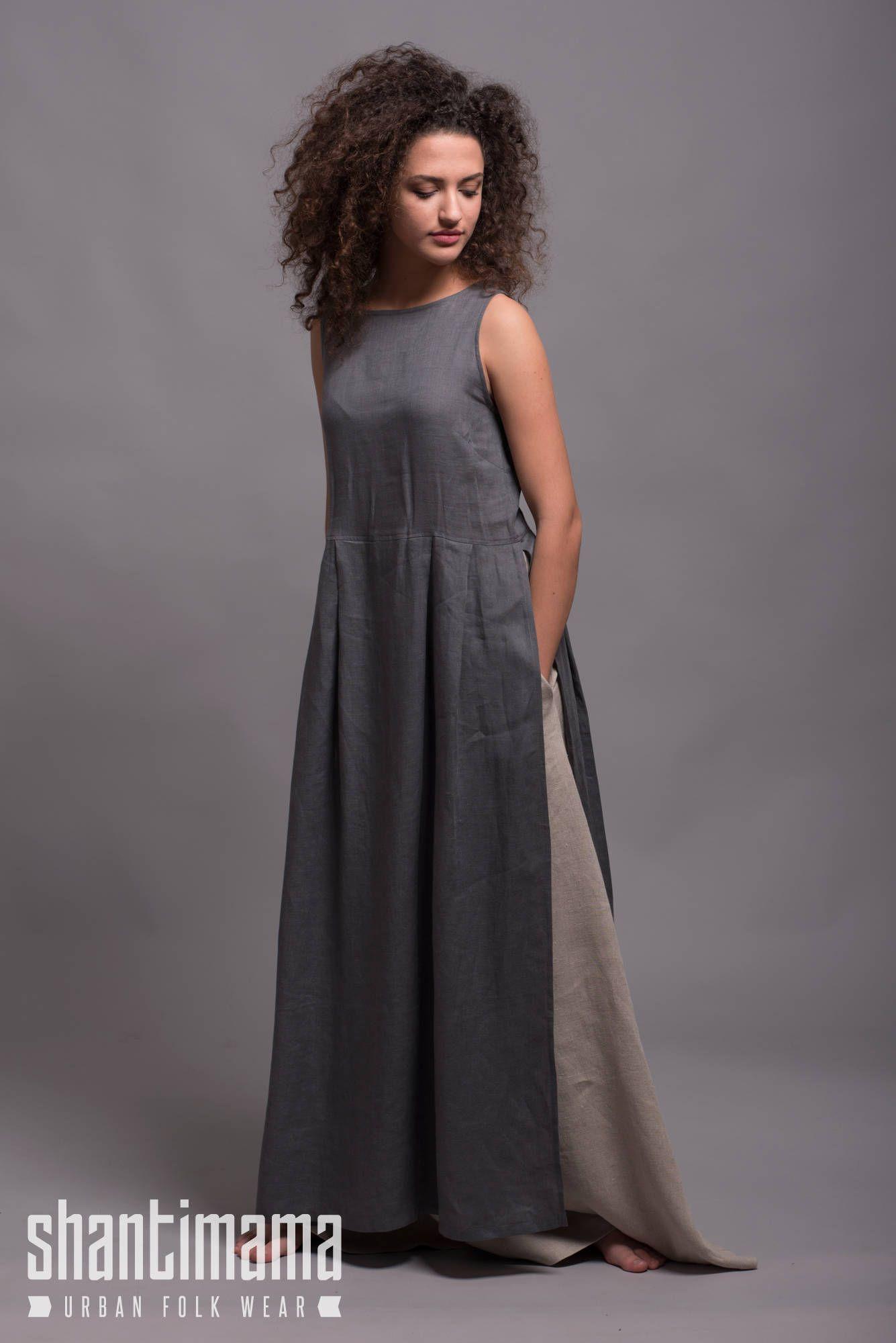 Longue robe tunique de lin gris NERO robe dété en lin  a19098f49