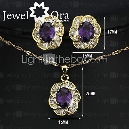 Women's Crystal Brand 18K Gold Plated Party Synthetic Gemstone Fashion Cubic Zirconia Jewelry Set - USD $ 15.74