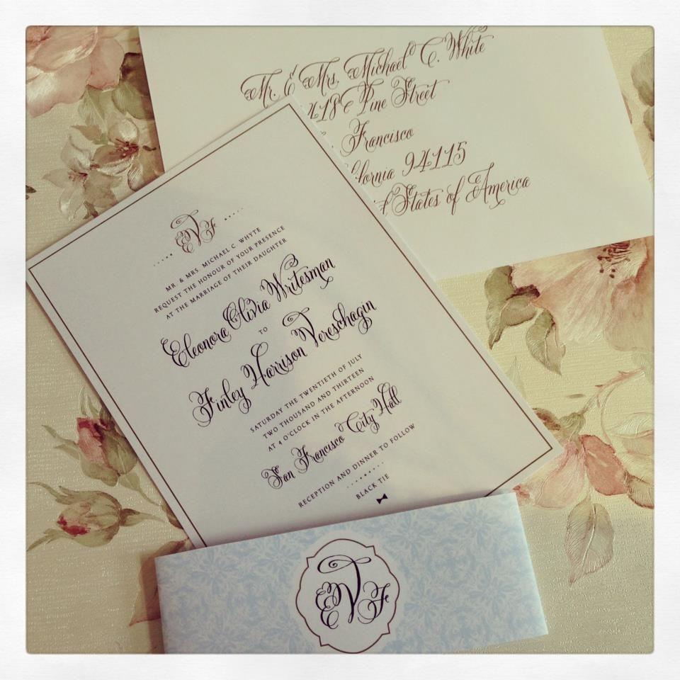 Carlson Craft Pocket Wedding Invitations: Gold Calligraphy Wedding Invitations Rose & Ruby Paper Co