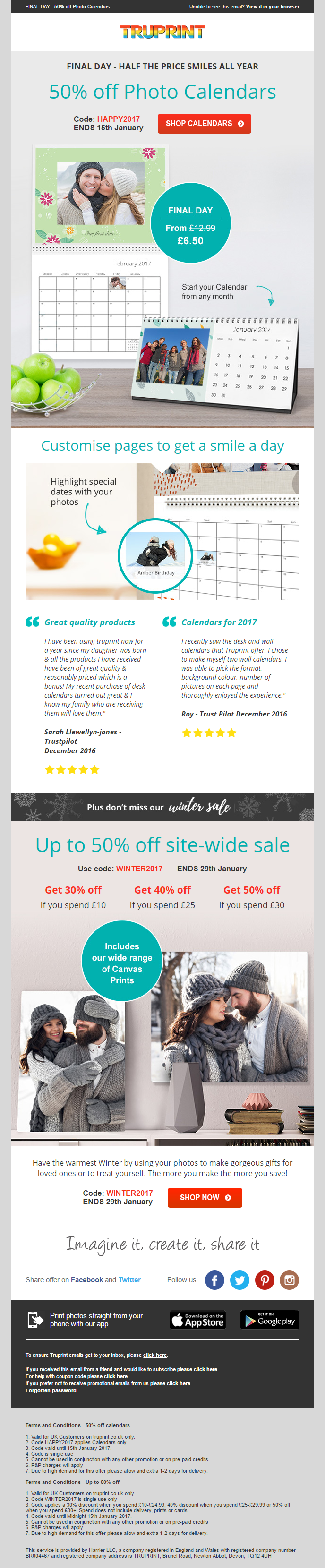 Truprint 50% off email including social proof and coupon codes ...
