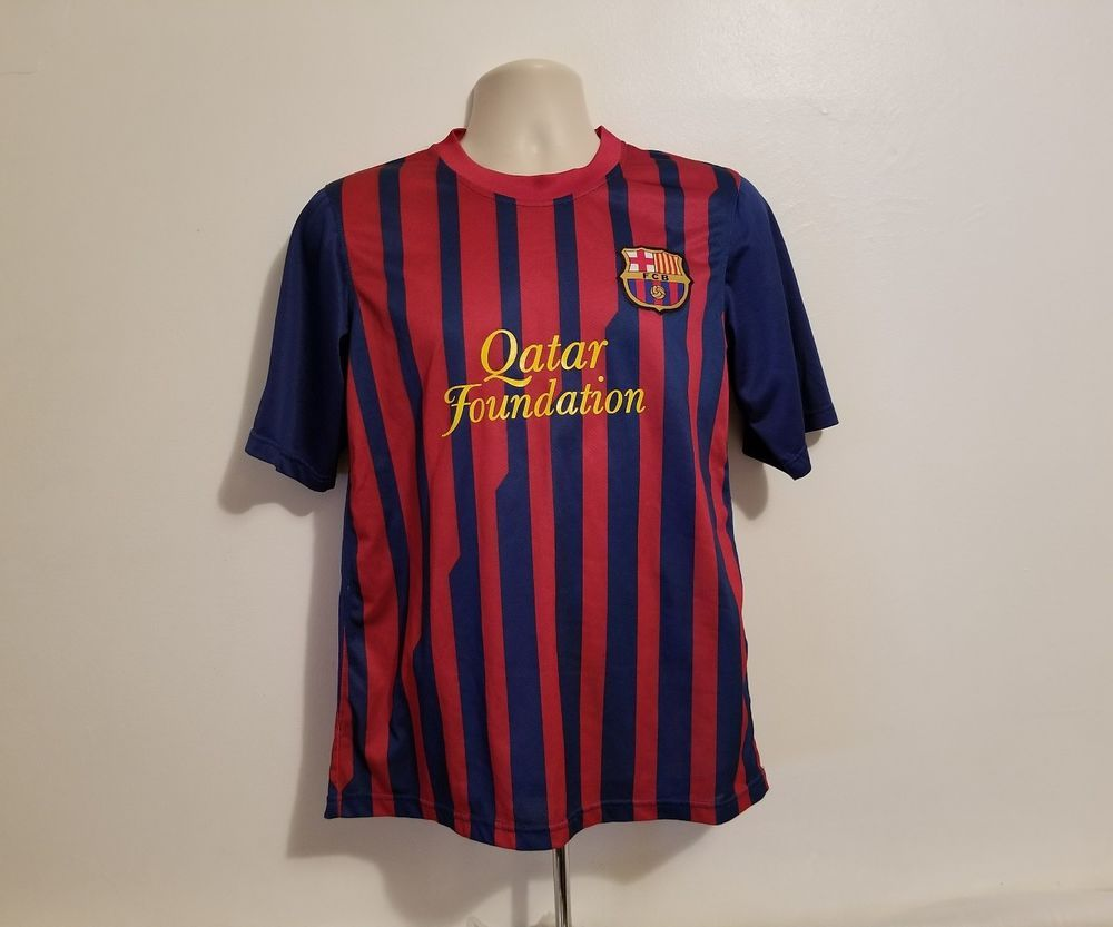 a34369f3431 Qatar Foundation FCB Messi 10 Unicef Mens Large Jersey #FCB #FCBarcelona.  Find this Pin and more on Football ...