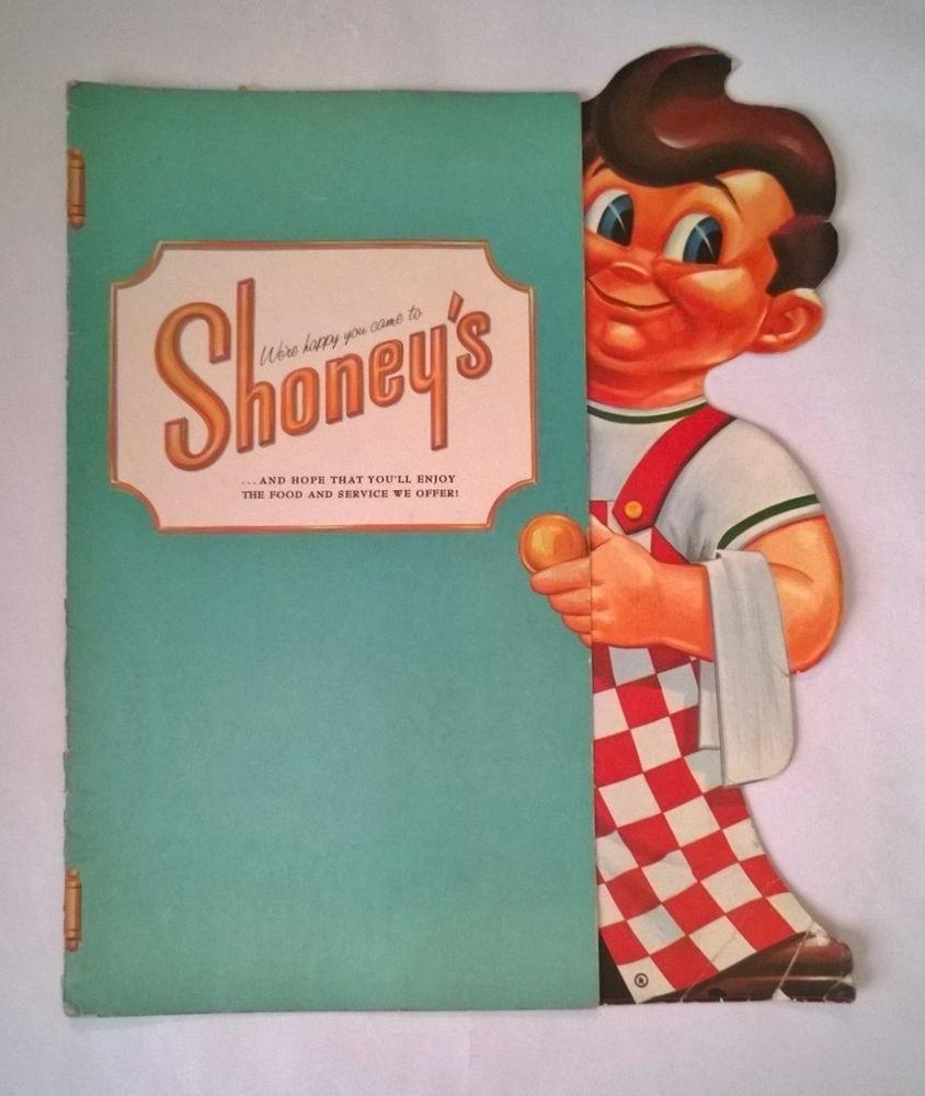 1960 SHONEY'S Restaurant Menu w/Die Cut BIG BOY
