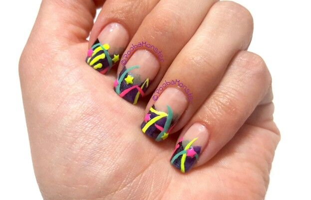 Neon 80s birthday nails. Inspired by Robin Moses.