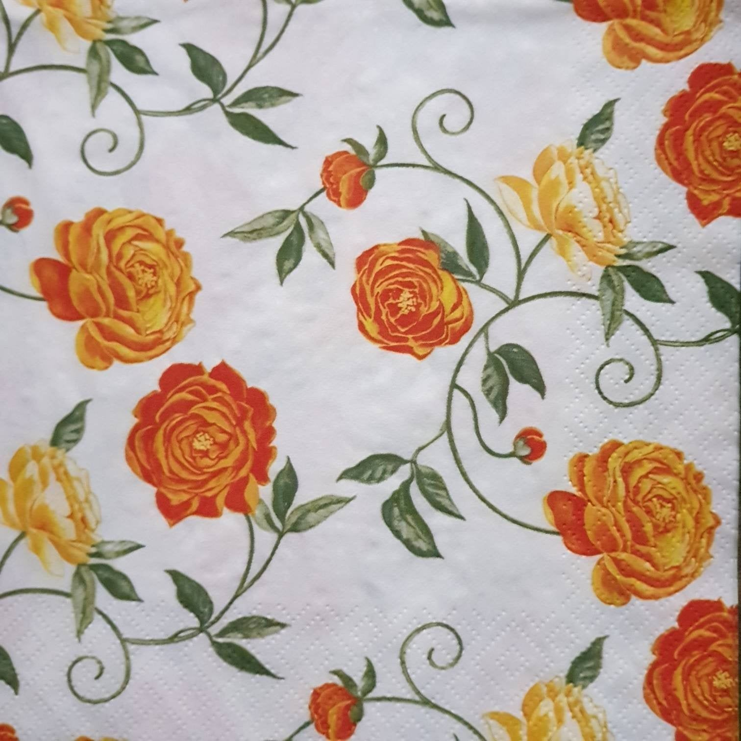 4 Delicate Peony Paper Napkins for Decoupage, Crafts Supply, Flowers Napkins, Decoupage paper, Orange Flowers, Craft Supplies