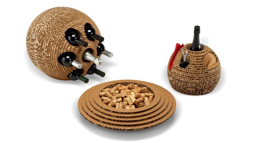 Mobili cartone ~ Holé collection set portabottiglie in cartone riciclato