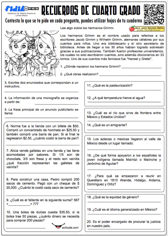 Recuerdos de Cuarto Grado | Actividades Educativas y Lúdicas ...