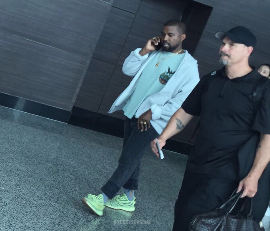 618d83516 Kanye West Spotted Wearing The adidas Yeezy Boost 350 V2 Semi Frozen Yellow  + Detailed Images
