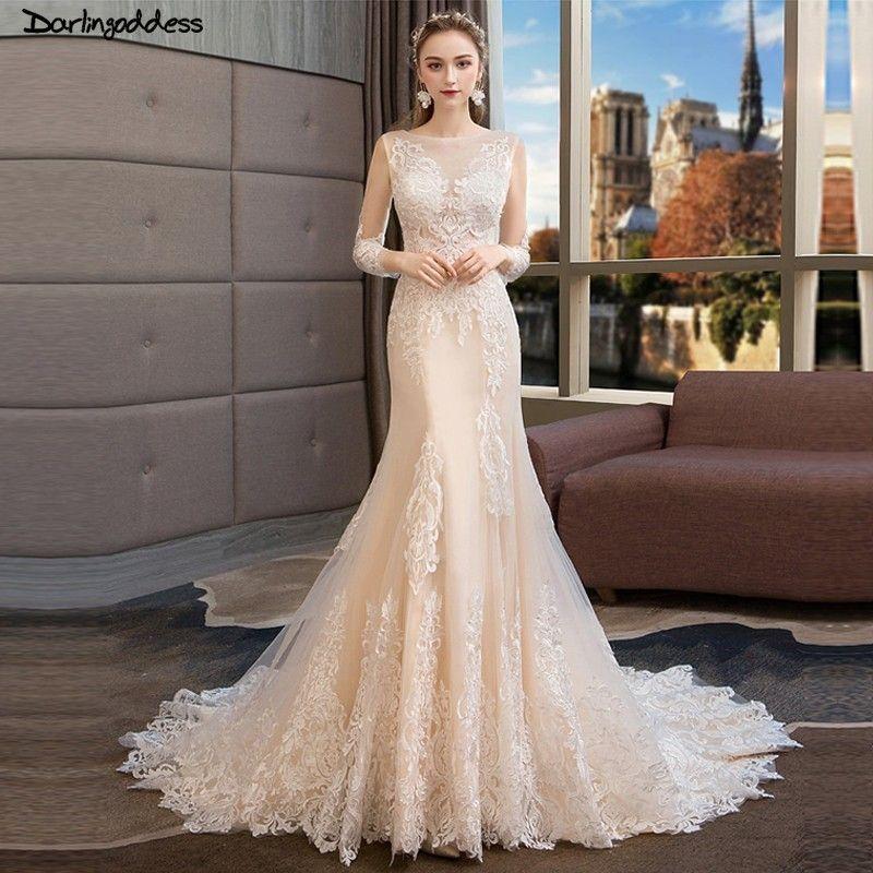 Vintage Lace Mermaid Wedding Dresses Long Sleeves Vestido